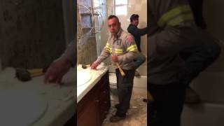Bathroom demo, wreck and destroy!