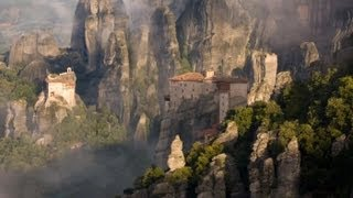 Meteora, Greece - suspended rocks with monasteries, relaxing music, HD