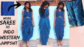 How to Wear Saree as Indo-Western Jumpsuit/ One-Piece Part-2 | Easy DIY No Sew No Cut