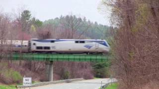 Amtrak Vermonter #55 Crosses Over I-91 - Bernadston, MA - 4 19 17