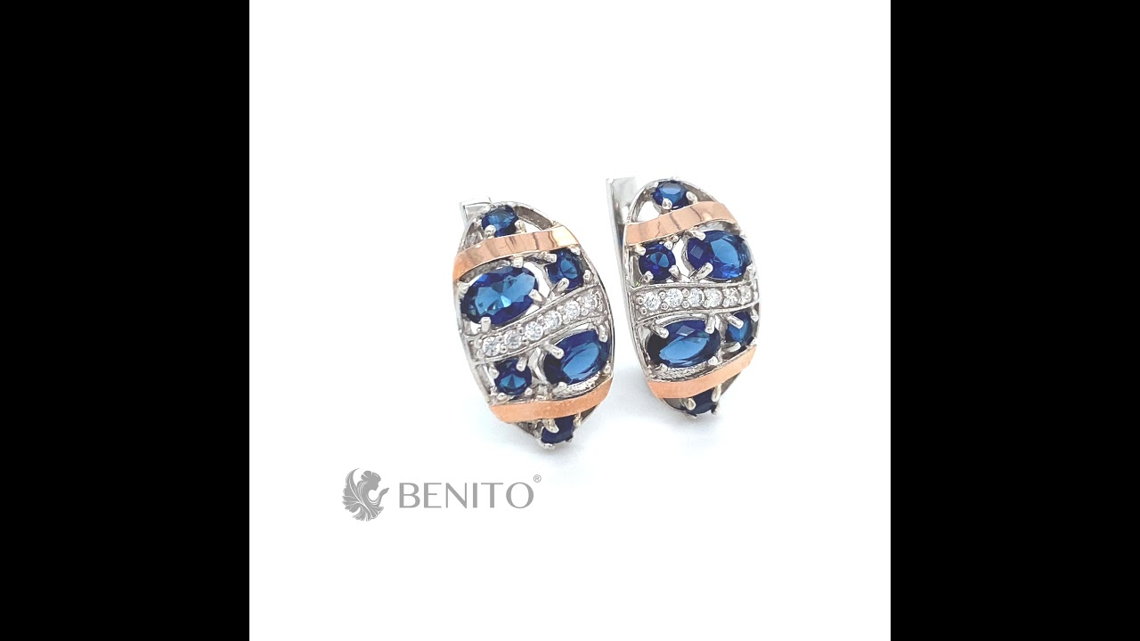 Vittoria Earrings Blue and White Zircon Stones