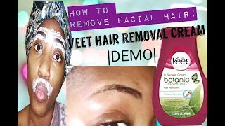 How to remove facial hair: VEET® HAIR REMOVAL CREAM |DEMO| width=