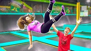 TEACHING HER TO BACKFLIP ON TRAMPOLINE!! (GONE WRONG) width=