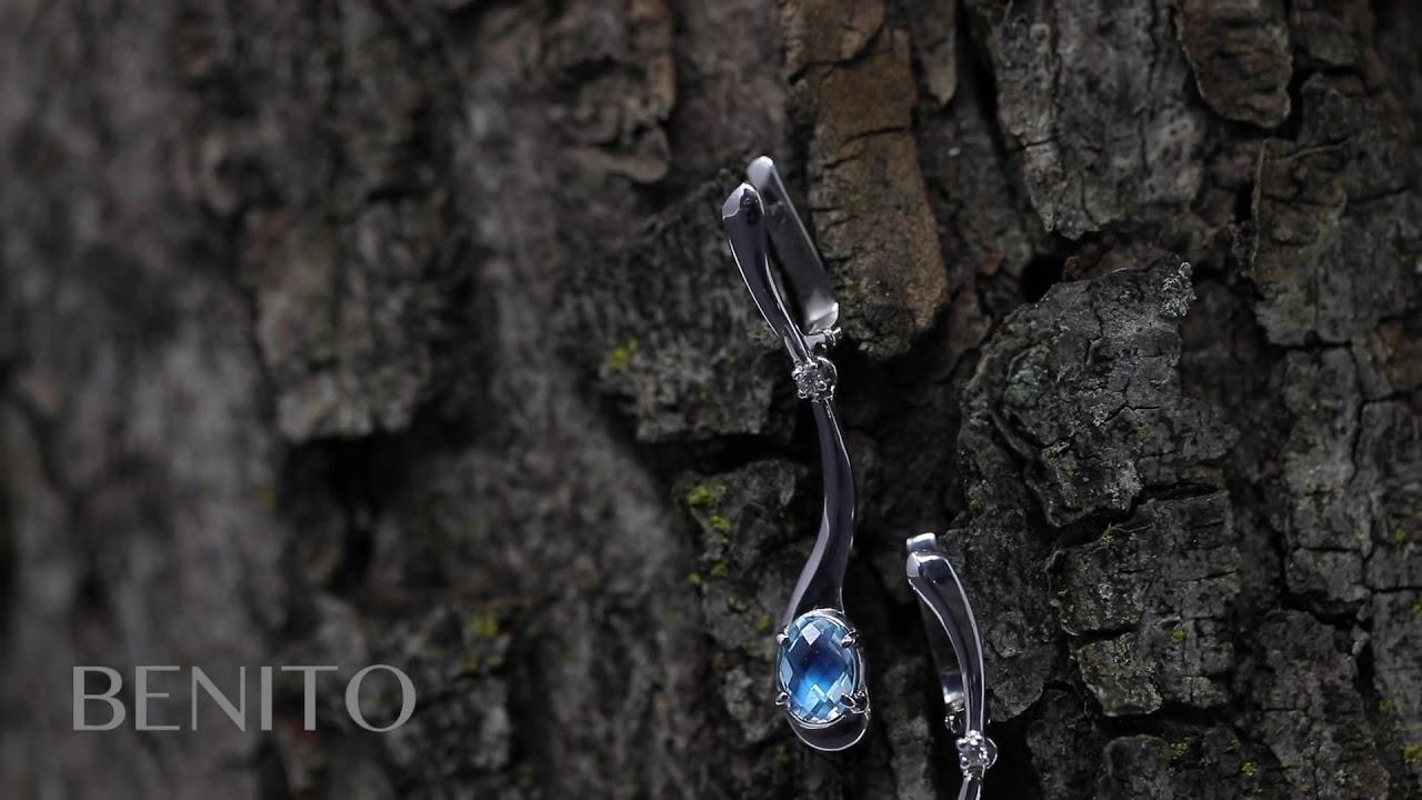 Sofia Earrings Blue Topaz Stone