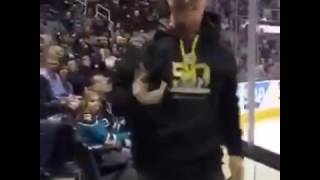 NHL puck caught during live stream San Jose Sharks VS Calgary Flames!
