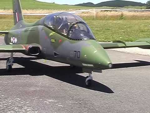 Turbine powered RC Aermacchi model airplane