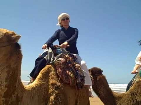 Riding camels on the beach at Essaouira
