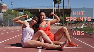 OUTDOOR HIIT CARDIO + AB TRAINING l SPRINT TRACK WORKOUT WITH COURTNEY KING