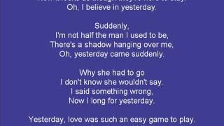 Yesterday (with lyrics)