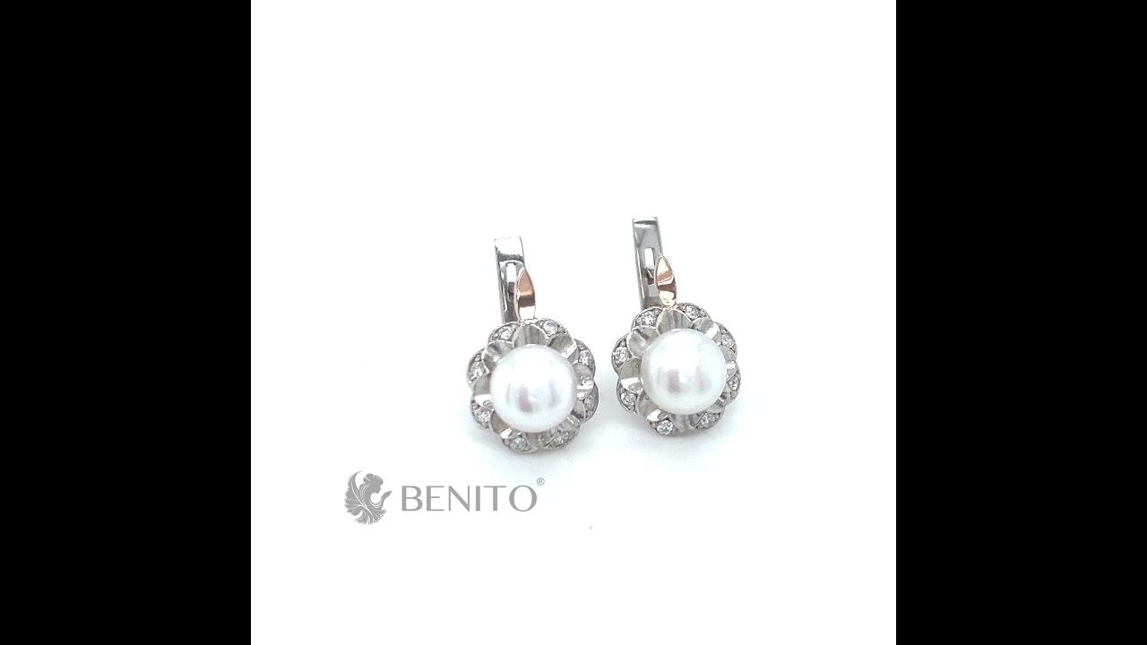 Germana Earrings White Pearl and Zircon Stones