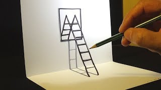 Trick Art Drawing for kids and adults - How to Draw Ladder & Mirror - Anamorphic Illusion