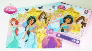 Quebra-Cabeça 3D 63 Peças Disney Princesas Cinderela Bela Jasmine e Ariel da Estrela