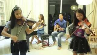 เพลง ลอยกระทง - Loy Krathong Song - 2 violins + piano + guitar - (Note & Pin  Sisters + Mom & Dad)