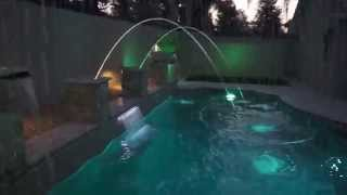 LED swimming pool with fire and water effects