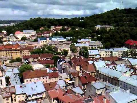 Lviv city center from the top of City Hall Ratusha Ukraine