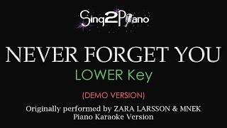 Never Forget You (Lower Key - Piano karaoke demo) Zara Larsson & MNEK