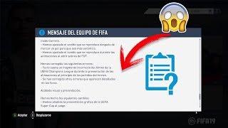 OFICIAL!! YA ESTA AQUI EL PRIMER PARCHE DE FIFA 19!! ESTO ES LO QUE TRAE Y COSAS QUE CAMBIARAN!! 😱