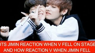 BTS JIMIN REACTION WHEN V FELL ON STAGE