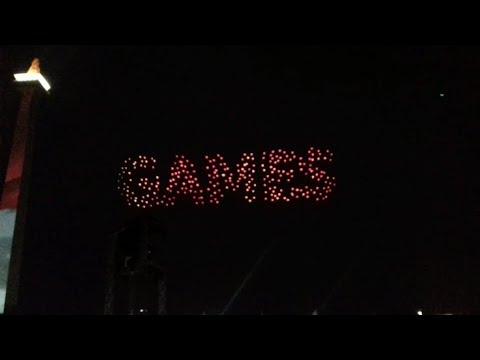 Download Video 300 Drone Membentuk Konfigurasi Memukau Pada Countdown Asian Games 2018