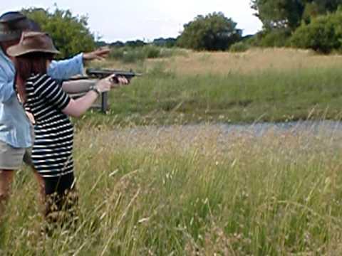 Shooting a semi-automatic machine gun!