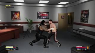 WWE 2K17: simulación en el ringside entre Roman Reigns y Sami Zayn