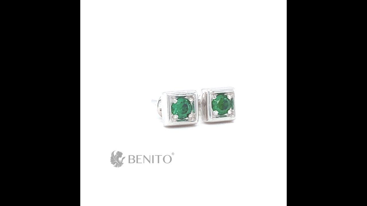 Tina Stud Earrings Green Zircon Stones
