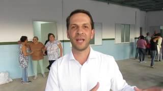 Prefeito Rodrigo falando sobre a inauguração do Posto de Saúde do Engenho Velho