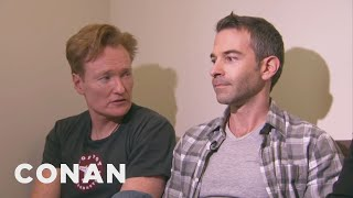 Conan Forces Jordan Schlansky To Clean His Filthy Office width=