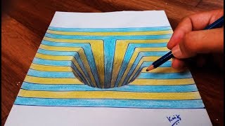 Drawing a Round Hole on Color line paper trick art - Kaif Sketch