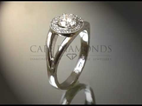 Complex stone ring,round diamond,small round diamonds around,baroque band,engagement ring
