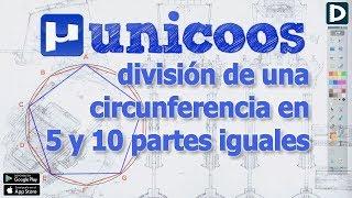 Imagen en miniatura para División de la circunferencia en 5 y 10 partes iguales