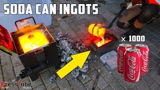 Shredding & Melting 1000 Coca Cola Soda Cans Into Huge Aluminium Ingots width=