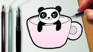 Como desenhar uma xícara com um panda kawaii