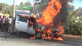 Another vehicle ferrying charcoal in Kitui torched