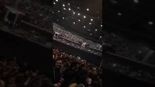 Crowd singing I am the resurrection before Liam Gallagher