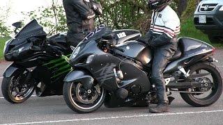 Hayabusa vs Kawasaki Ninja -1/4 mile drag race of street bikes
