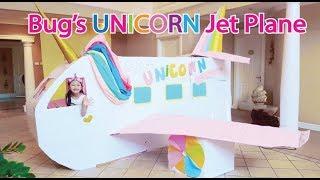 Bug's UNICORN Barbie Airplane Boxfort / Airport Pretend Play