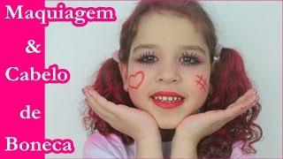 Tutorial Maquiagem de Boneca e Cabelo Rosa - Maquiagem Infantil Kids Makeup