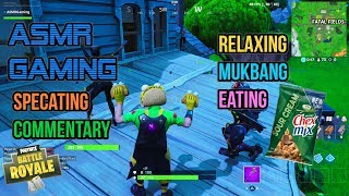 ASMR Gaming | Fortnite Mukbang Eating Crunchy Chex Mix Commentary 먹방 🎮🎧 Relaxing Whispering😴💤
