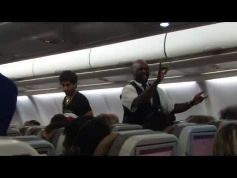 Flight attendants are dancing at airplane on the sky!!! Most interesting New Year!!!