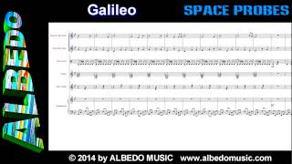 Galileo from Space Probes by ALBEDO. Scrolling Sheet Music. New Age Space Music.
