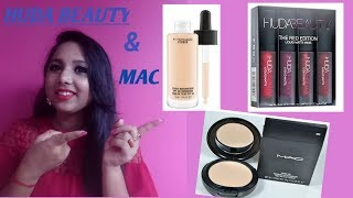 Huda beauty liquid matte lipstick red adition & mac foundation & compact powder from snapdeal,