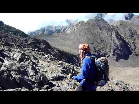 Singing Berber guide descending Toubkal