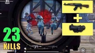 AKM + 6x Scope CRAZY!! | 23 KILLS SOLO VS SQUAD | PUBG MOBILE