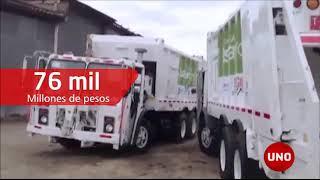 Lote de camiones compactadores está exhibido para el remate en el municipio de Tocancipá