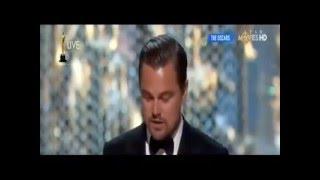 Entrega de premio Oscar a Leonardo DiCaprio 2016 / Discurso Emotivo sobre el planeta.