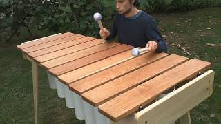 Playing a big bass marimba