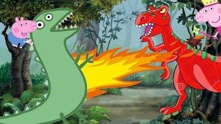 ➽ Dinossauro: Desenho Infantil Luta de Dinossauros Rex e Senhor Dinossauro do George Pig e Peppa Pig