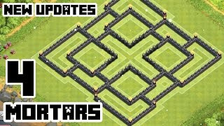 Clash of Clans Town Hall 9 Defense (CoC TH9) BEST Farming Base Layout With 4 Mortars