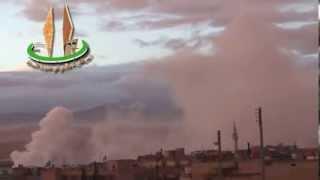 رصد تصاعد الدخان الأبيض في مدينة النبك بعد سقوط قذائف يعتقد أنها سامة 5-12-2013